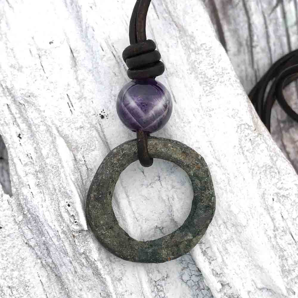 Wide Green Patinated Celtic Ring Money & Genuine Amethyst Leather Necklace