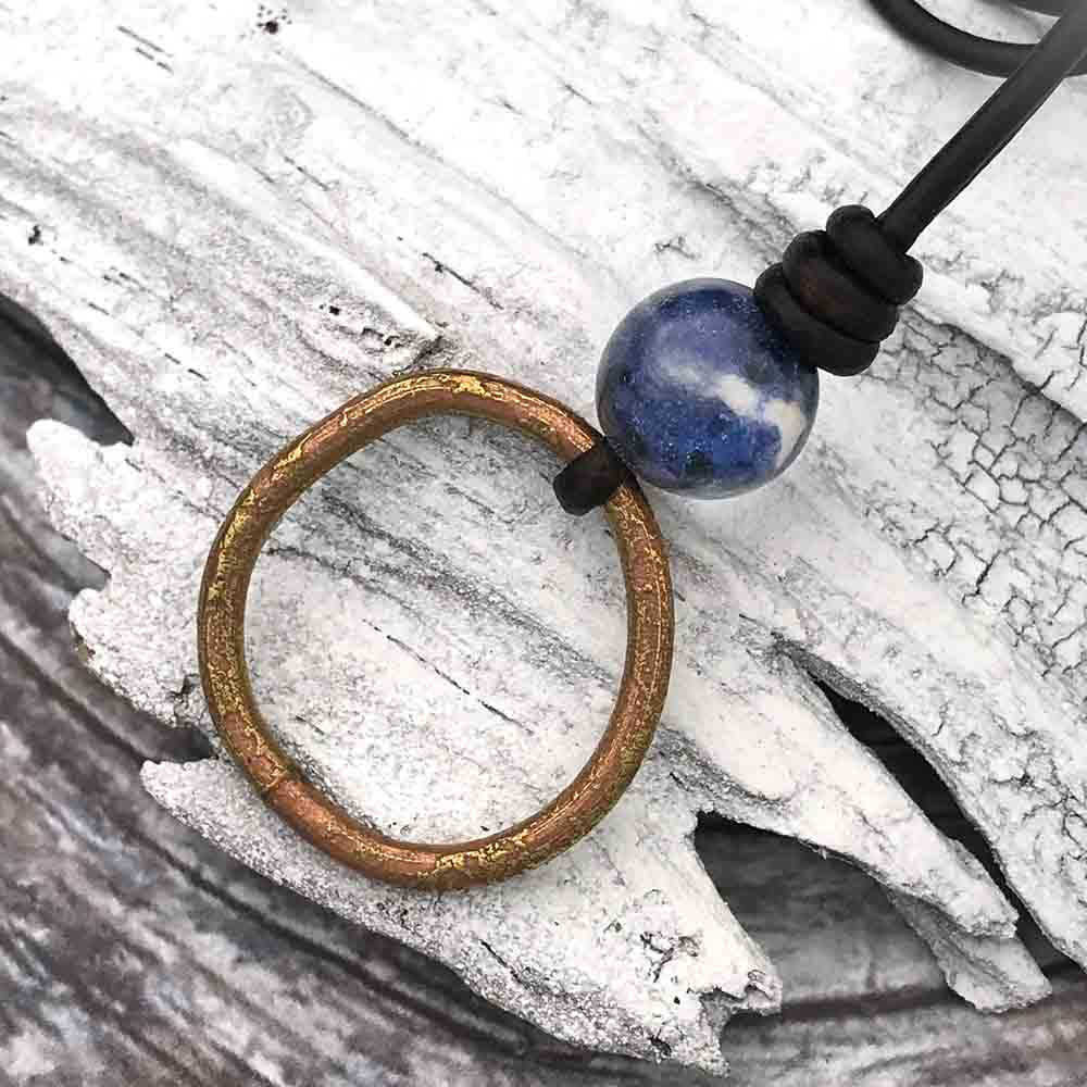 Large, Red Bronze Celtic Ring Money & Genuine Sodalite Leather Necklace