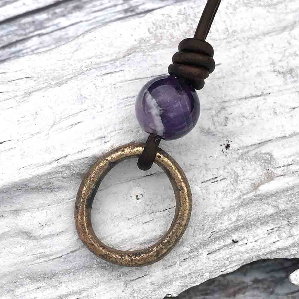 Oval Bright Bronze Celtic Ring Money & Genuine Amethyst Leather Necklace