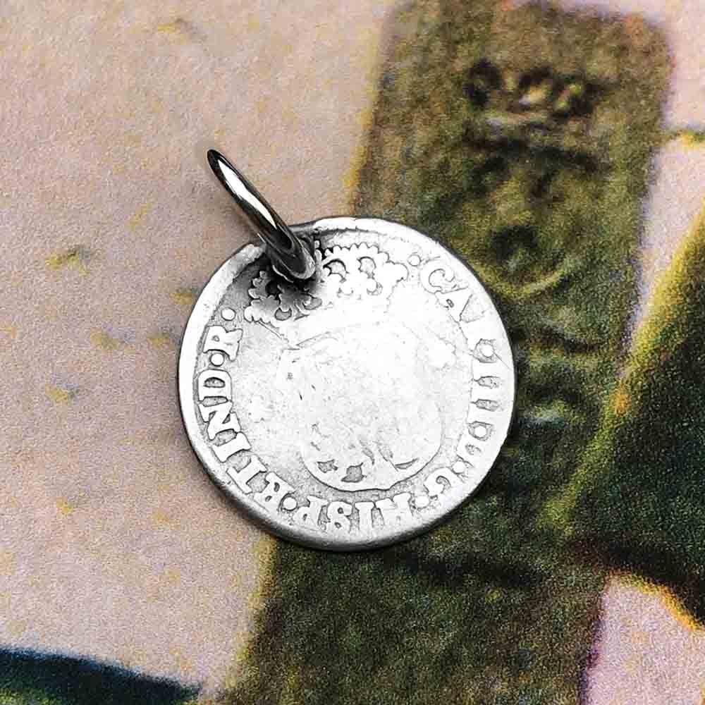 "Pirate Chic Silver 1/2 Reale Spanish Pillar Dollar - the Legendary ""Piece of Eight"" Necklace Dated 1768"