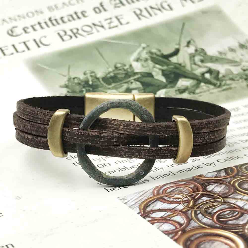 "Celtic Ring Money 6 1/2"" Bracelet in Brown Leather & Bronze"