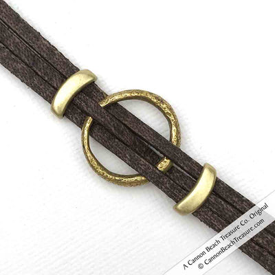 "Celtic Ring Money 7"" Bracelet in Brown Leather & Bronze"