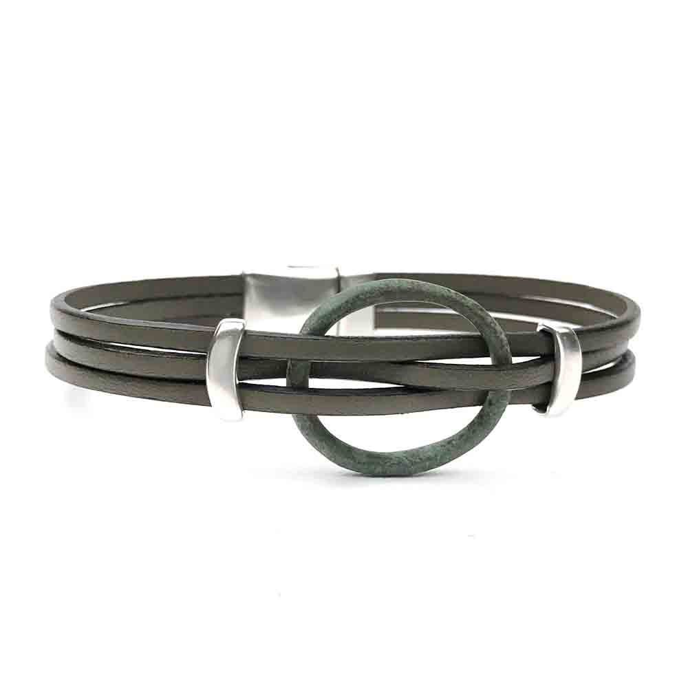 "Celtic Ring Money 8 1/2"" Bracelet in Gray Leather & Silver"