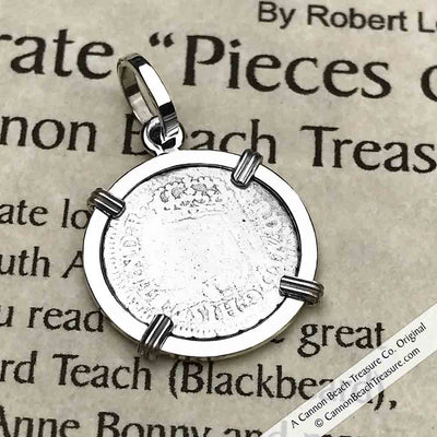 "1757 Spanish 1/2 Reale Pirate ""Piece of Eight"" Pillar Dollar Pendant in Sterling Silver 
