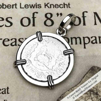 "1757 Spanish 1/2 Reale Pirate ""Piece of Eight"" Pillar Dollar Pendant in Sterling Silver"