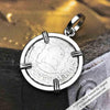 "1750 Spanish 1/2 Reale Pirate ""Piece of Eight"" Pillar Dollar Pendant in Sterling Silver"