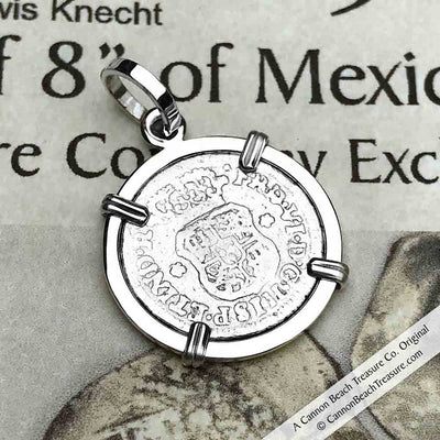 "1750 Spanish 1/2 Reale Pirate ""Piece of Eight"" Pillar Dollar Pendant in Sterling Silver 