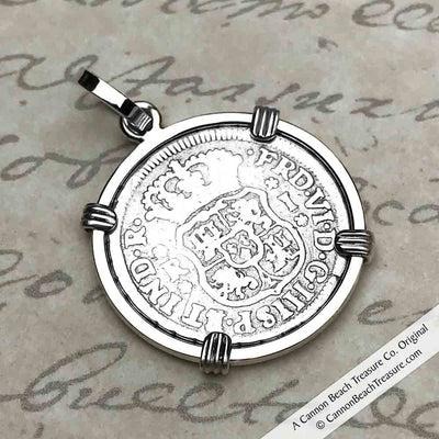 "1 Reale 1751 Spanish 1 Reale Pirate ""Piece of Eight"" Pillar Dollar Pendant in Sterling Silver 