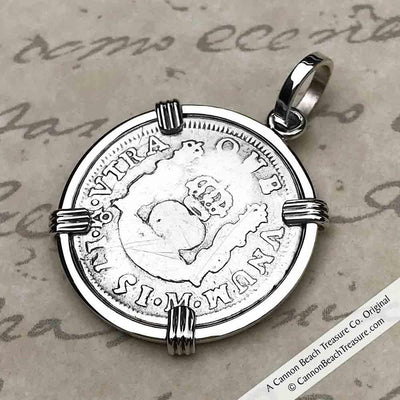 "1 Reale 1751 Spanish 1 Reale Pirate ""Piece of Eight"" Pillar Dollar Pendant in Sterling Silver"