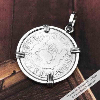 "1755 Spanish 1 Reale Pirate ""Piece of Eight"" Pillar Dollar Pendant in Sterling Silver"