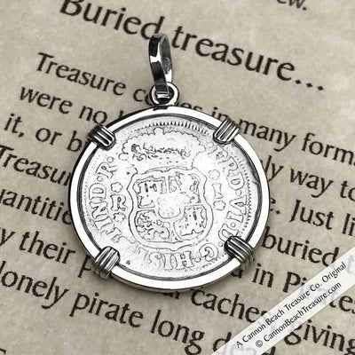"1755 Spanish 1 Reale Pirate ""Piece of Eight"" Pillar Dollar Pendant in Sterling Silver 