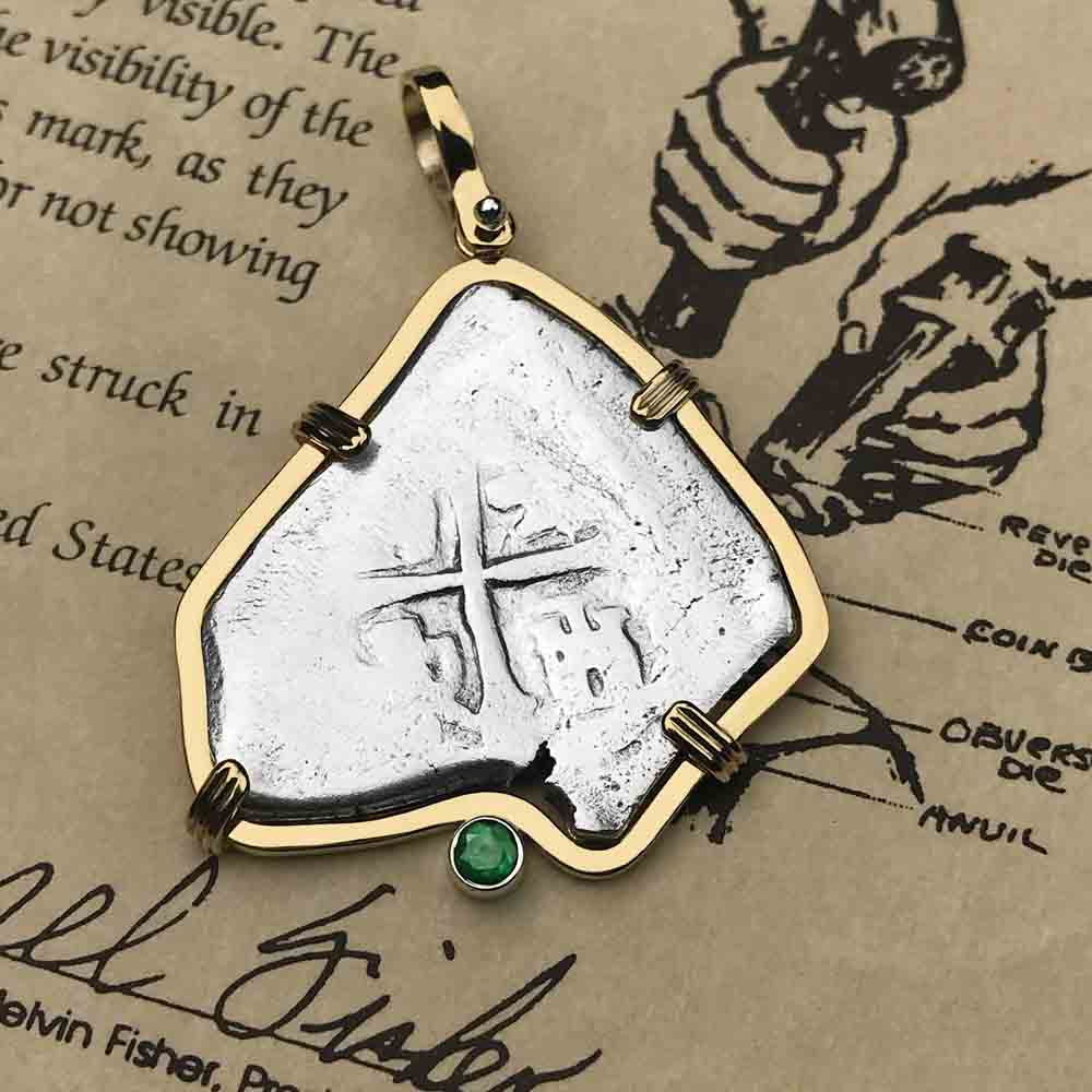 1715 Fleet Shipwreck 4 Reale cob Piece of Eight 14K Gold Necklace with Emerald - the Cobb Coin Company Collection