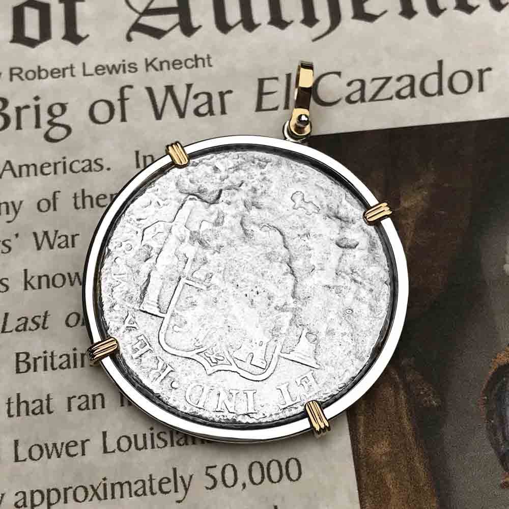 "El Cazador Shipwreck 1783 8 Reale ""Piece of 8"" 14K Gold & Silver Treasure Coin Necklace 