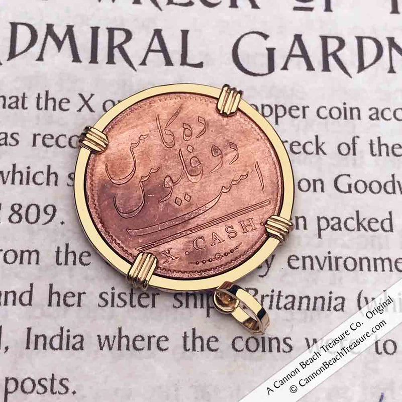 Admiral Gardner Shipwreck 1808 Cash Coin 14K Yellow Gold Pendant | Grade 1 Gem Quality | Artifact #3874