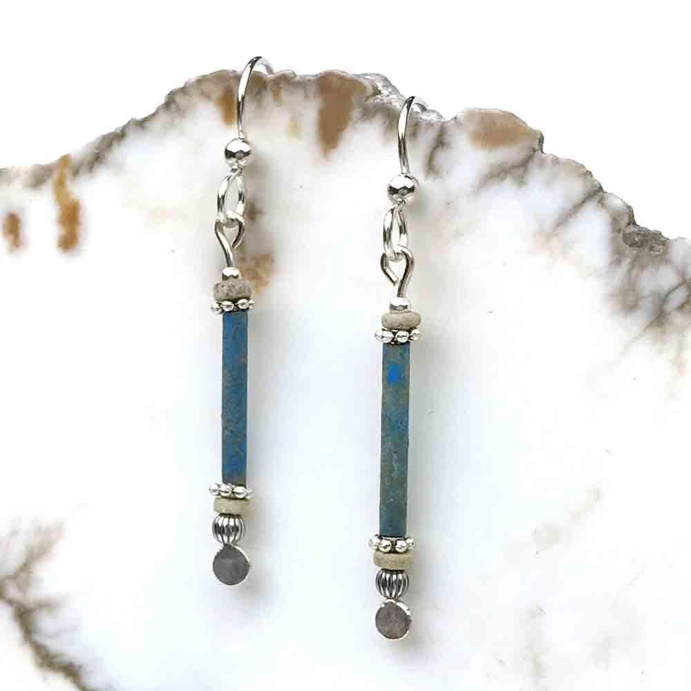 Ancient Egyptian Faience Mummy Bead Earrings in Sterling Silver