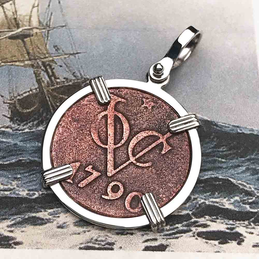 VOC - Dutch East India Company Shipwreck 1790 1 Duit Sterling Silver Necklace