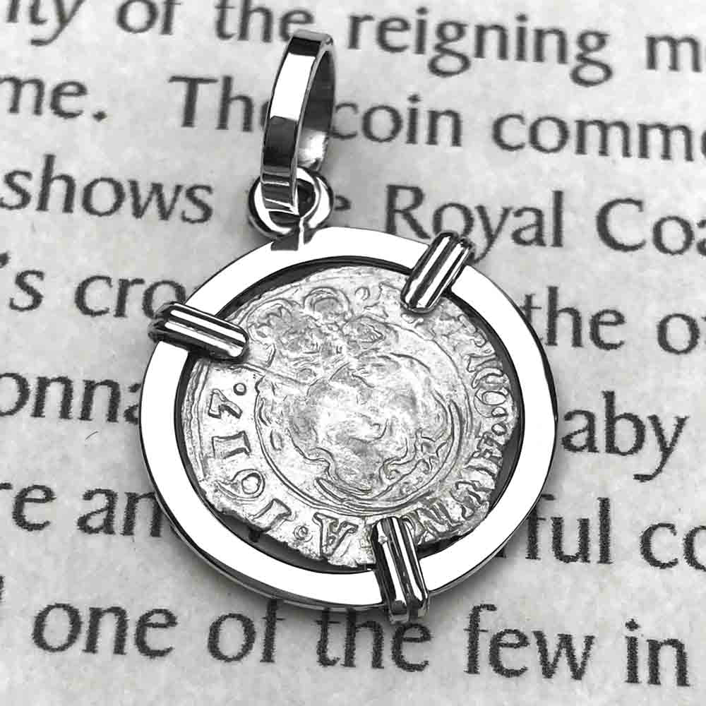 Silver Hungarian Denar Coin Pendant with Mary & Baby Jesus Dated 1617