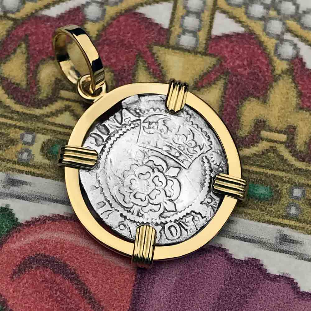 1607 King James of England & Scotland Scottish Thistle Tudor Rose Silver 1/2 Groat 18K Gold Necklace