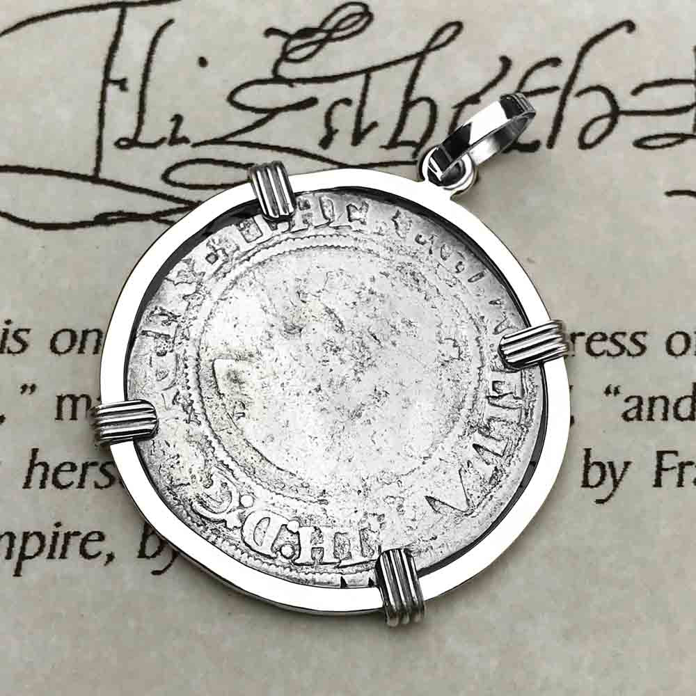Elizabeth I 1566 Silver Six Pence Sterling Silver Necklace | Artifact #3942