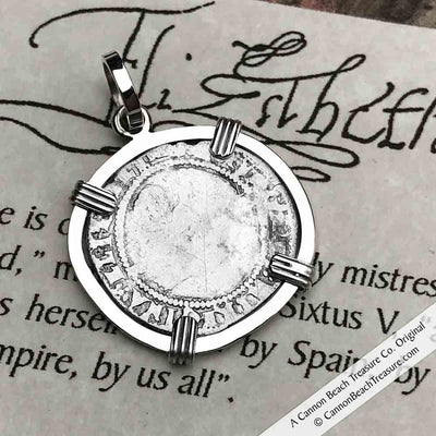 Elizabeth I 1575 Silver Three Pence Necklace in Sterling Silver | Artifact #3946