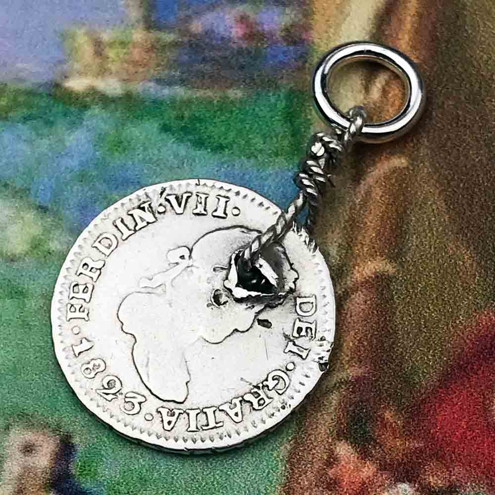 "Pirate Chic Silver 1/2 Reale Spanish Portrait Dollar Dated 1823 - the Legendary ""Piece of Eight"" Necklace"
