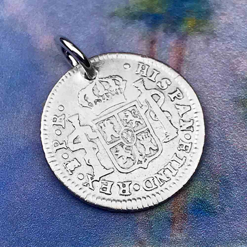 "Pirate Chic Silver 1/2 Reale Spanish Portrait Dollar Dated 1782 - the Legendary ""Piece of Eight"" Necklace"