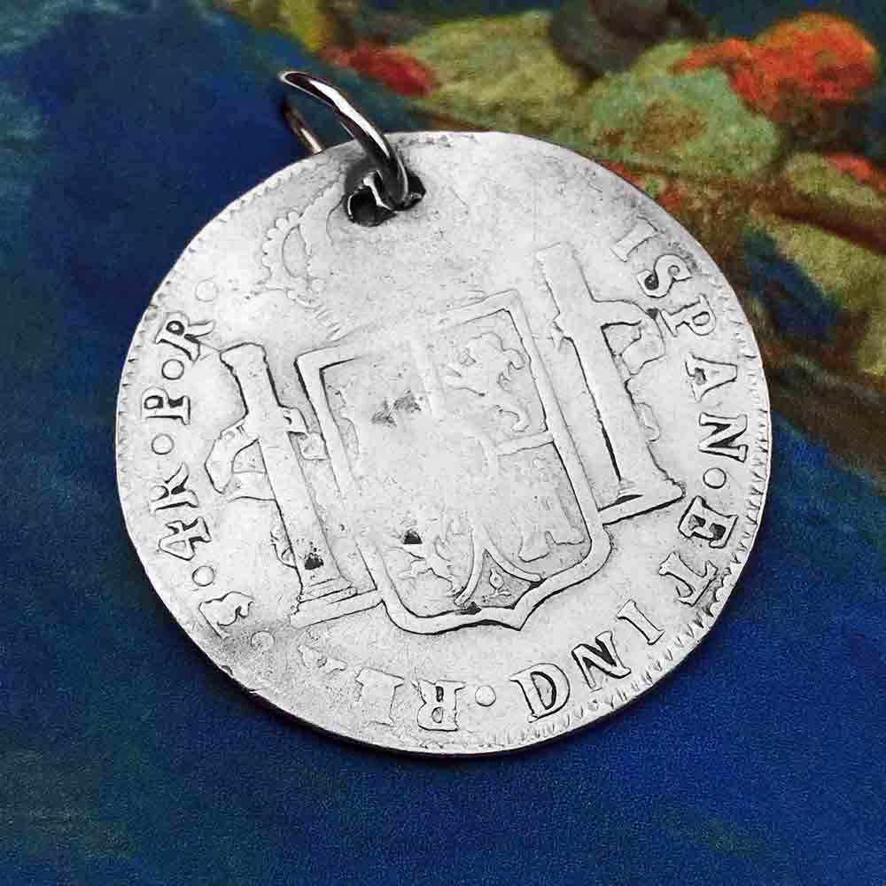 "Pirate Chic Silver 4 Reale Spanish Portrait Dollar Dated 1792 - the Legendary ""Piece of Eight"" Necklace"