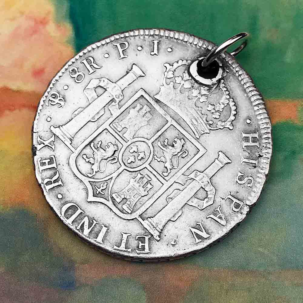"Pirate Chic Silver 8 Reale Spanish Portrait Dollar Dated 1808 - the Legendary ""Piece of Eight"" Necklace"