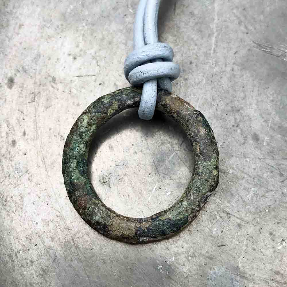 Green Flecked Bronze Celtic Ring Money Leather Necklace
