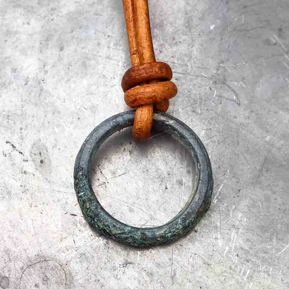 Grey Green Flecked Bronze Celtic Ring Money Leather Necklace