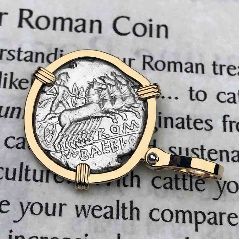 Roman Republic Silver Roma & Apollo Denarius Coin Necklace 137 BC in 14K Gold | Artifact #5071