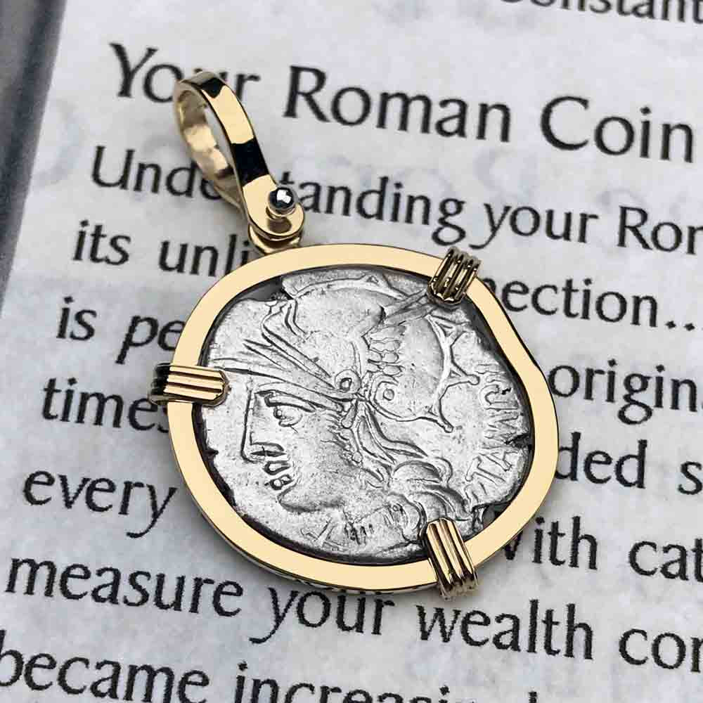 Roman Republic Silver Roma & Apollo Denarius Coin Necklace 137 BC in 14K Gold