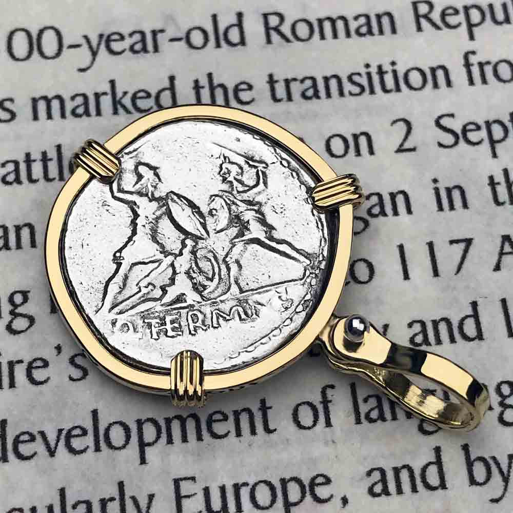 Roman Republic Silver Denarius with Mars and the Warriors Coin Necklace 103 BC in 18K Gold | Artifact #5072