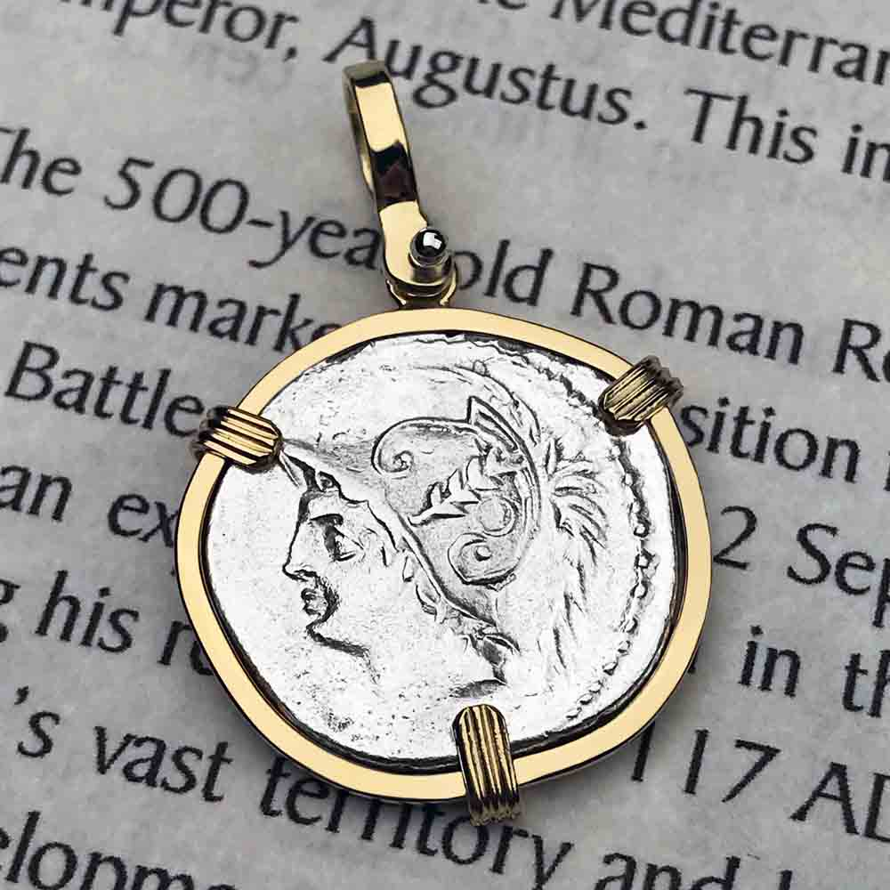 Roman Republic Silver Denarius with Mars and the Warriors Coin Necklace 103 BC in 18K Gold