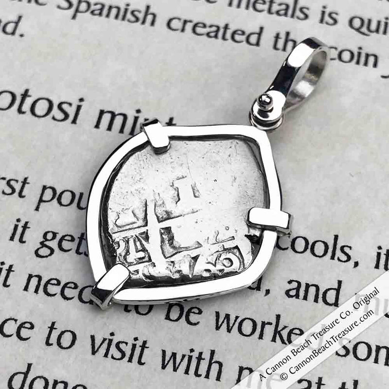 "1760 Spanish 1 Reale Pirate ""Piece of Eight"" Sterling Silver Necklace 