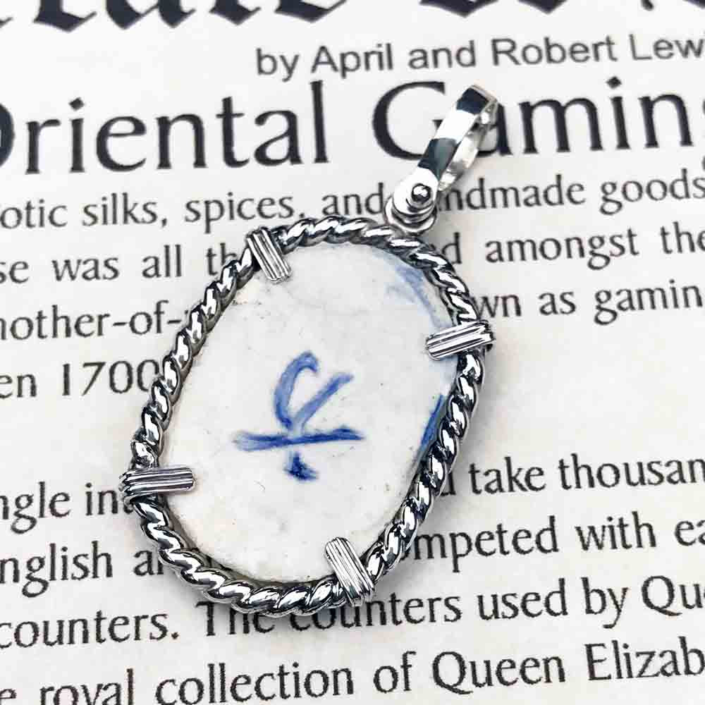 "Siam Porcelain Gaming Token - from the Era of ""The King & I"" - Sterling Silver Necklace 