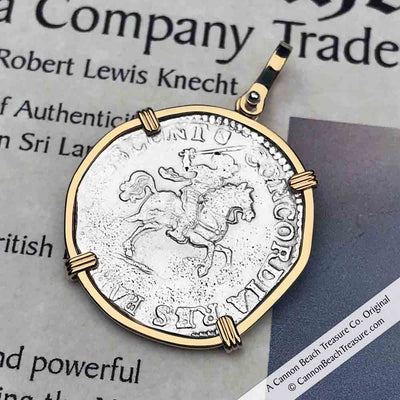 Dutch East India Company 6 Stuiver 1686 Silver Knight on Horseback 14K Gold Pendant