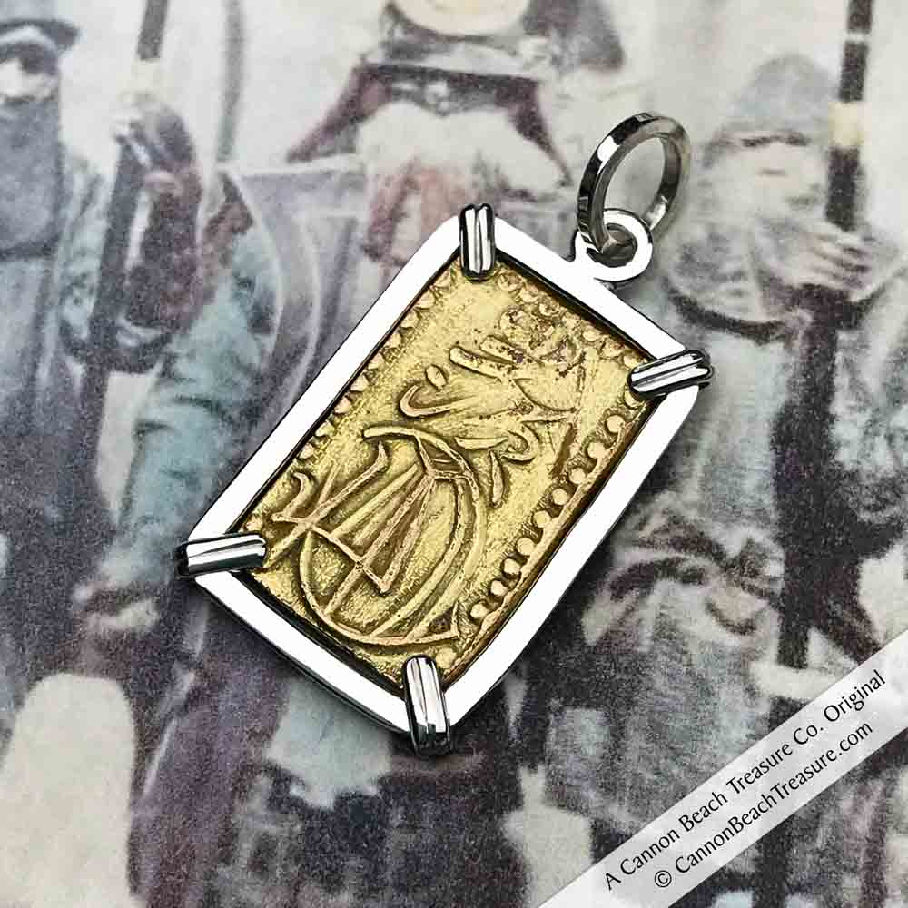 The Coins of the Last Samurai & Shogunate Gold Nibu-Kin Pendant in Sterling Silver