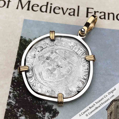 Medieval France Silver Blanc a la Couronne 1498 Crusader Cross Coin 14K Gold & Sterling Pendant | Artifact #5112