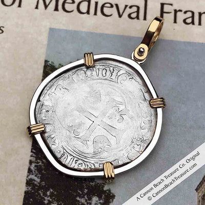 Medieval France Silver Blanc a la Couronne 1498 Crusader Cross Coin 14K Gold & Sterling Pendant