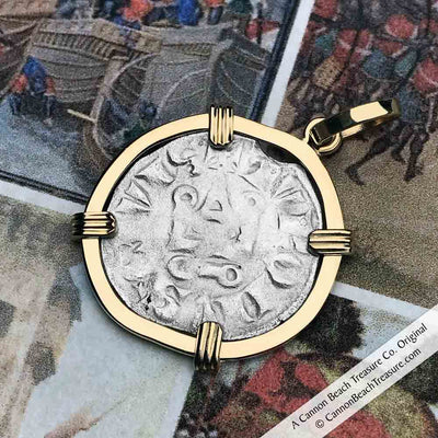 Templar Knights Era Cross & Cathedral Silver French Coin 14K Gold Necklace | Artifact #5115