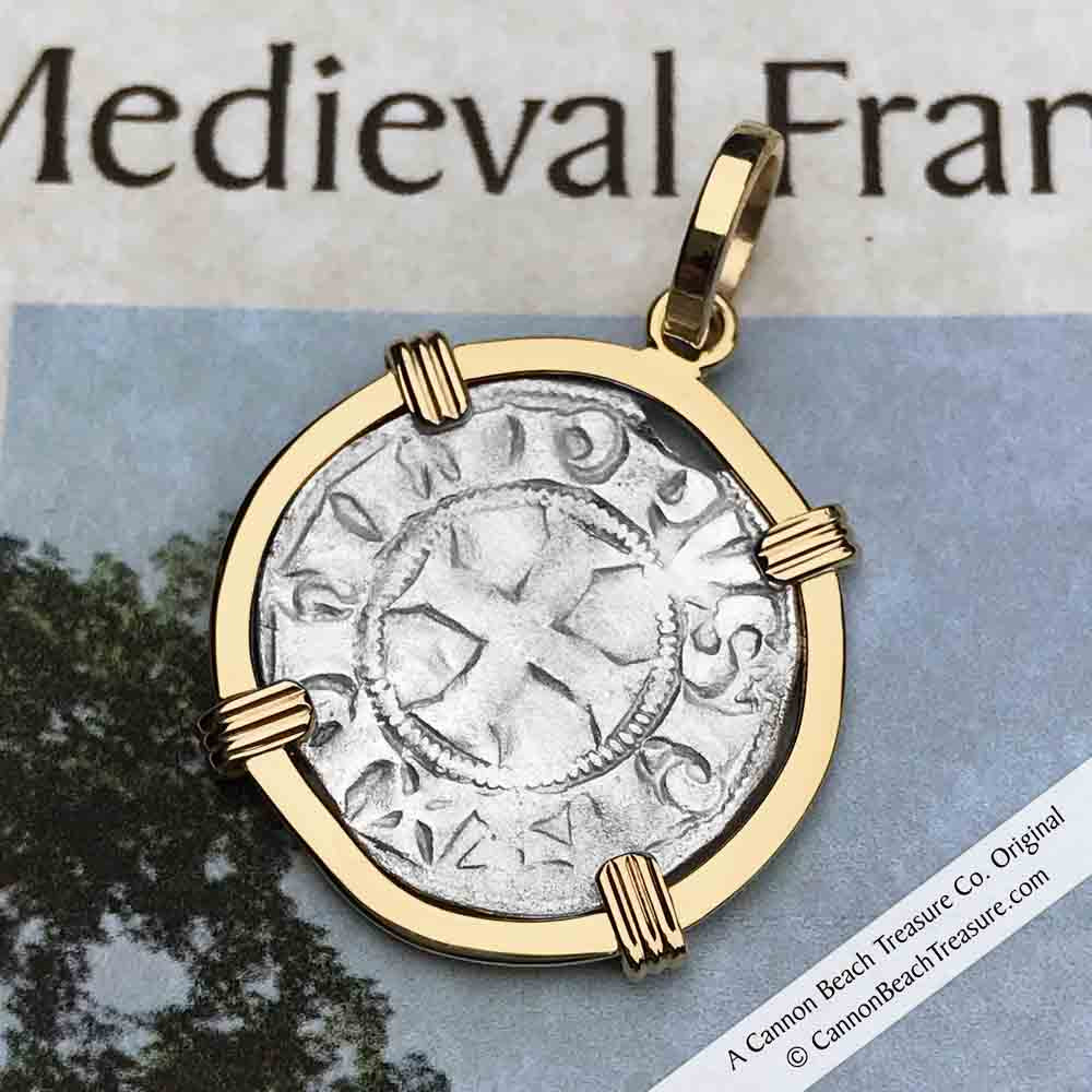 Templar Knights Era Cross & Cathedral Silver French Coin 14K Gold Necklace