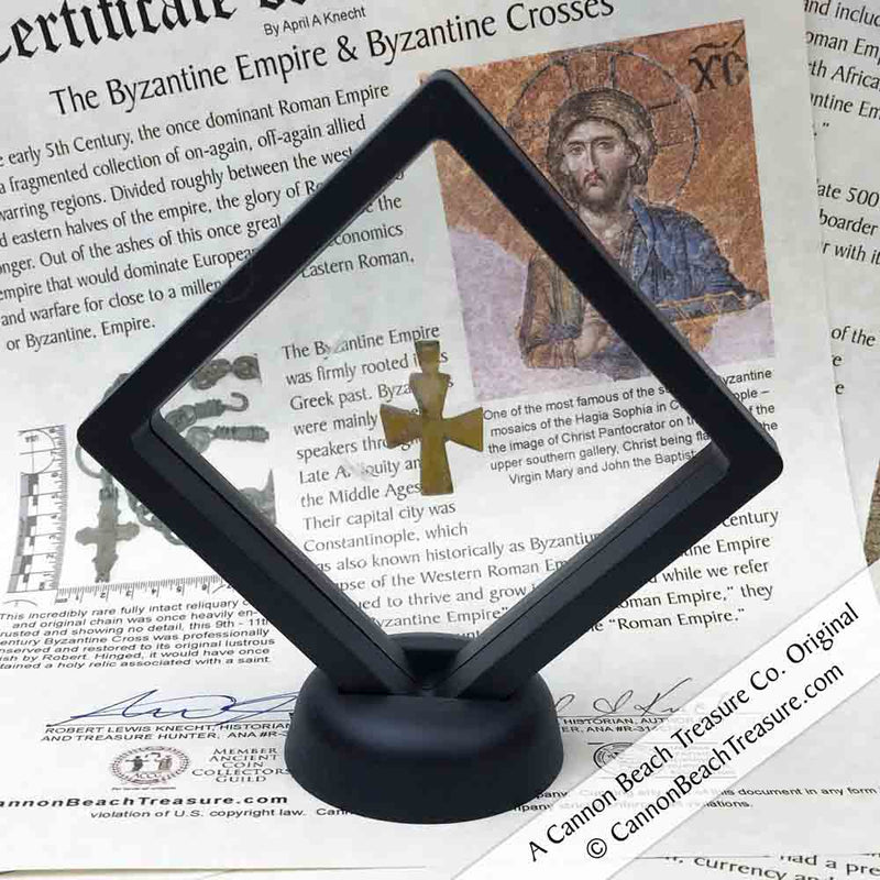 Rare Glass Early Byzantine Cross in Display circa 600 AD