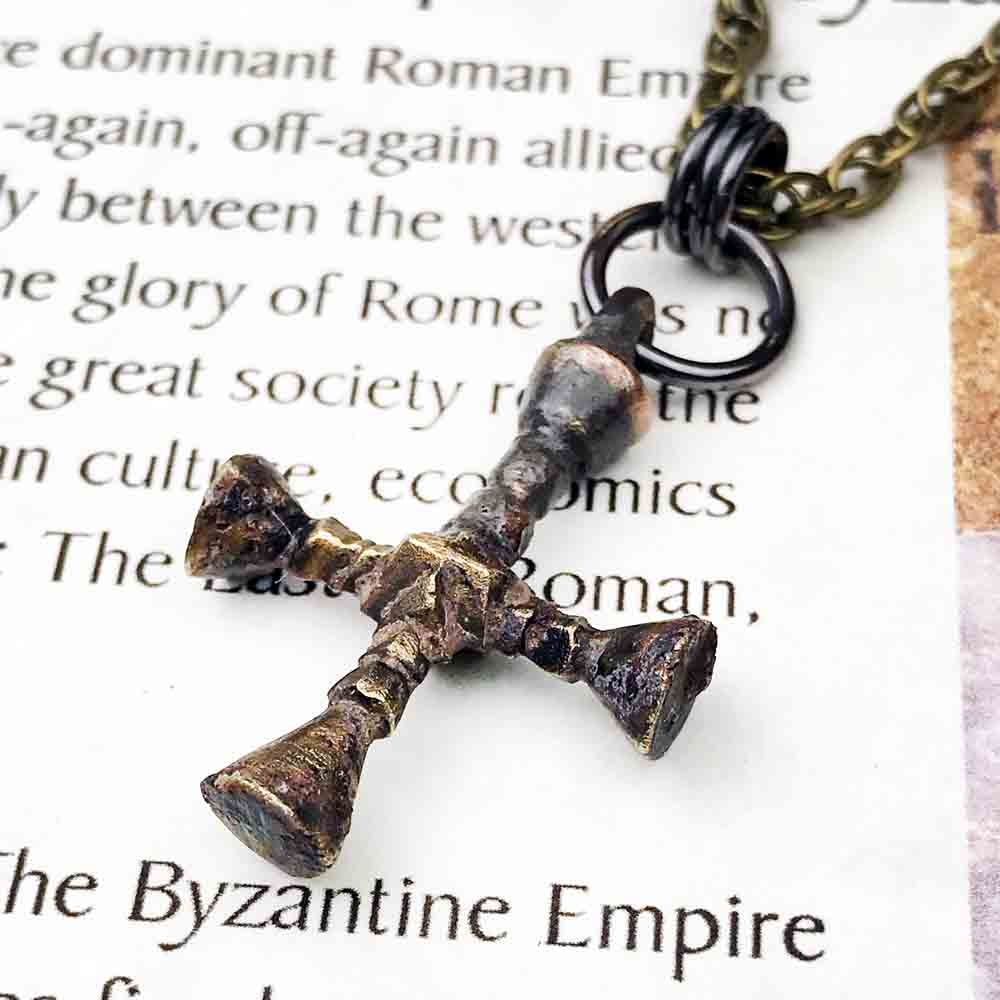 Medieval Byzantine Bronze Cross Necklace circa 1100 AD