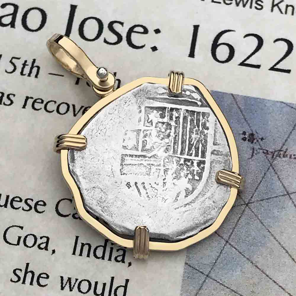 Sao Jose Rare 2 Reale circa 1598-1621 Shipwreck Coin 14K Gold Necklace | Artifact #5155