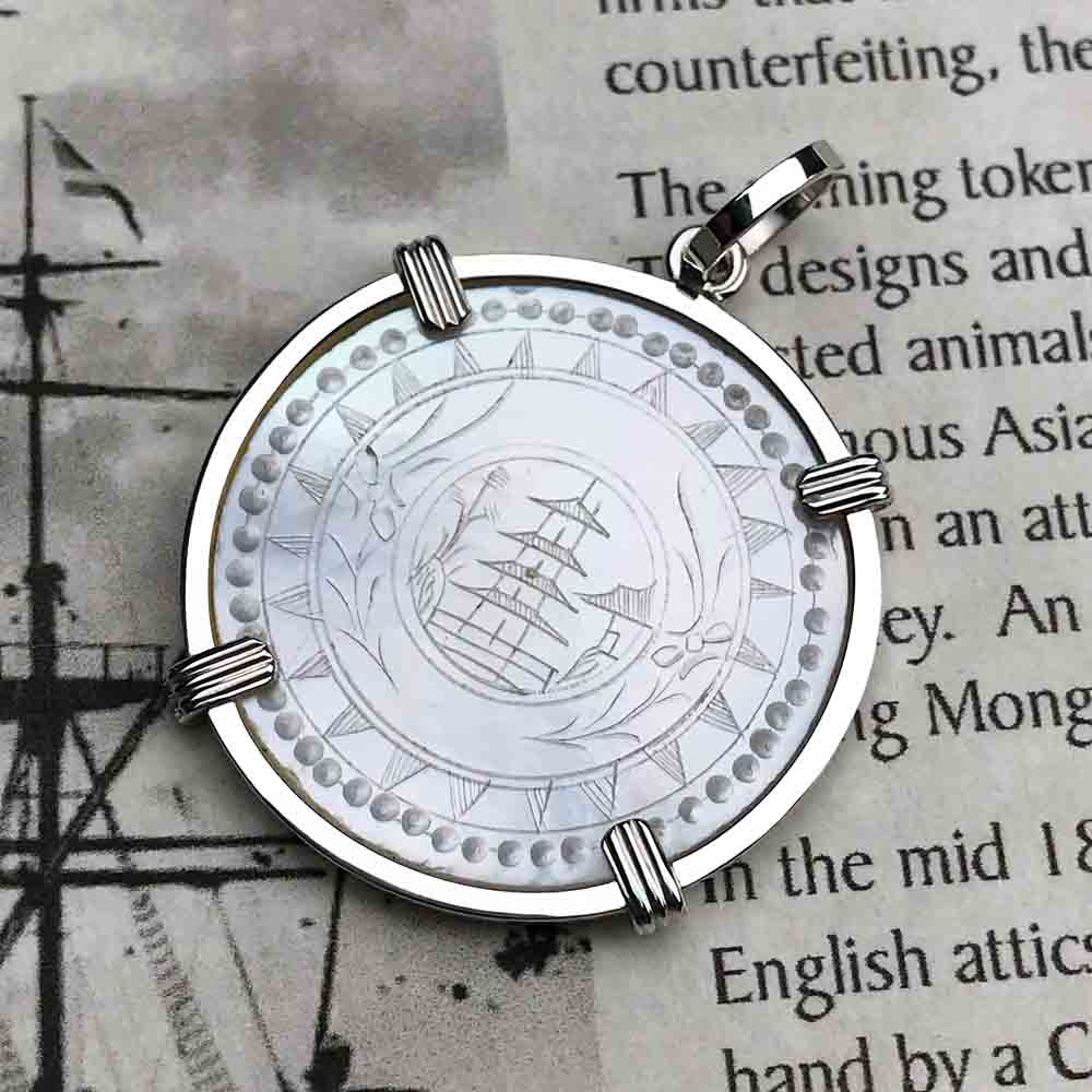 Round Mother of Pearl Gaming Counter Pendant in Sterling Silver