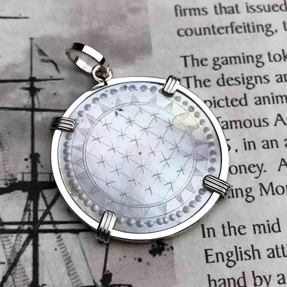 Round Mother of Pearl Gaming Counter Necklace in Sterling Silver | Artifact #5161
