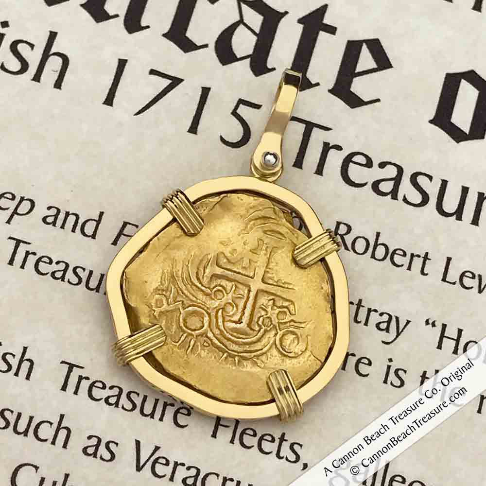 Legendary, Exquisite and Rare, 1715 Fleet Shipwreck 22K Gold Bogota, Columbia 2 Escudo Doubloon Necklace