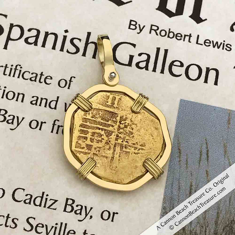 1611 Shipwreck 22K Gold 2 Escudo - the Legendary Doubloon - 18K Gold Pendant | Artifact #5168