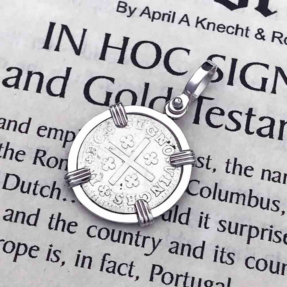 "Portuguese Silver 60 Reis ""In This Sign Conquer"" Crusaders' Cross Necklace"